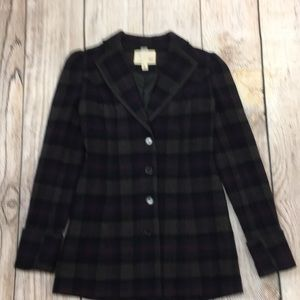 Plaid Jacket Button Up The Front Pockets Size XS